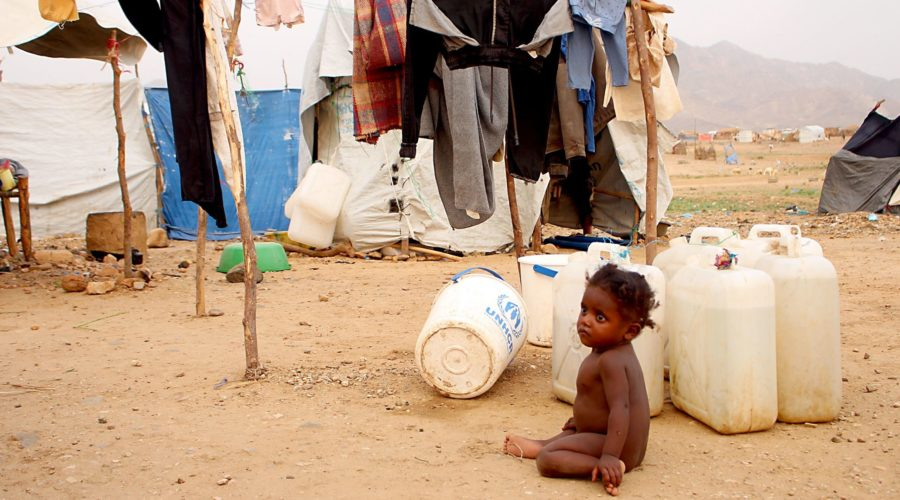 A displaced Yemeni child who fled the fightings is pictured at a makeshift camp in the district of Abs, in Yemen's northwestern Hajjah province on June 10, 2019. - Saudi air defence forces on June 10 intercepted two drones launched by Huthi rebels from neighbouring Yemen, state media reported, as the Iran-aligned militia steps up attacks on the kingdom. The drones targeted Khamis Mushait in the kingdom's south and caused no damage or casualties, the Saudi-led coalition fighting in Yemen said in a brief statement released early Tuesday by the official Saudi Press Agency (SPA). (Photo by ESSA AHMED / AFP)        (Photo credit should read ESSA AHMED/AFP/Getty Images)